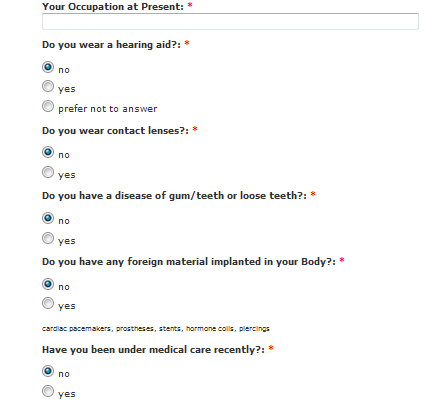 Questionnaire for anaesthesology
