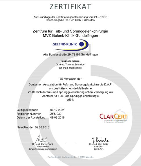 Certification as foot and ankle surgery centre (ZFS)