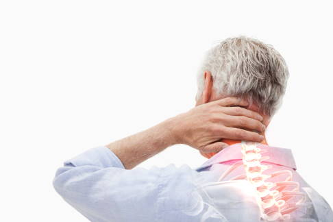 Man with cervical spine pain