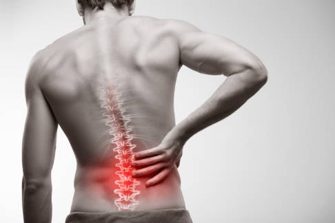 Man suffering from lumbar spine pain
